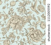 vintage seamless pattern with... | Shutterstock .eps vector #1112005592