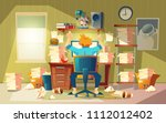 vector home office in chaos... | Shutterstock .eps vector #1112012402