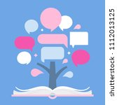 infographic tree and open book. ... | Shutterstock .eps vector #1112013125
