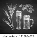 hops  malt  beer glass and beer ... | Shutterstock .eps vector #1112024375