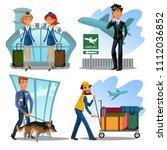 airport employees set  guard... | Shutterstock .eps vector #1112036852