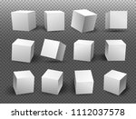 set of white blocks. 3d  icons... | Shutterstock .eps vector #1112037578