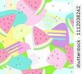 watermelon seamless patterns on ... | Shutterstock .eps vector #1112038262