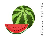 flat watermelon whole  a slice... | Shutterstock .eps vector #1112042456