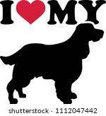i love my english springer... | Shutterstock .eps vector #1112047442