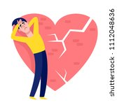 upset man in blue and yellow...   Shutterstock .eps vector #1112048636