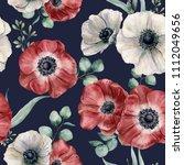watercolor anemone seamless... | Shutterstock . vector #1112049656