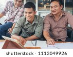 young business people plan to... | Shutterstock . vector #1112049926