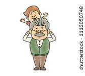 cute grandfather with grandson... | Shutterstock .eps vector #1112050748