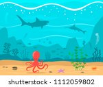 underwater reef with fish ... | Shutterstock .eps vector #1112059802