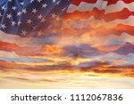 american flag in the sky | Shutterstock . vector #1112067836