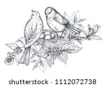 bouquet with hand drawn blossom ... | Shutterstock .eps vector #1112072738