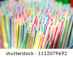 colorful plastic straws with...   Shutterstock . vector #1112079692