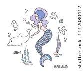 vector cartoon cute  mermaid... | Shutterstock .eps vector #1112080412