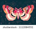 night tropical moths hawkmoth... | Shutterstock .eps vector #1112084552
