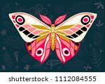 night tropical moths on floral... | Shutterstock .eps vector #1112084555