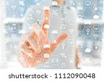 iot concept with young man in... | Shutterstock . vector #1112090048