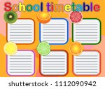 school timetable  a weekly... | Shutterstock .eps vector #1112090942