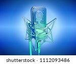 a professional microphone on a... | Shutterstock .eps vector #1112093486