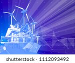 a modern house and windmills on ... | Shutterstock .eps vector #1112093492