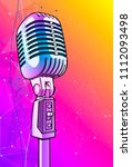 violet microphone on a bright... | Shutterstock .eps vector #1112093498