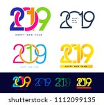 happy new year. set of 2019... | Shutterstock .eps vector #1112099135
