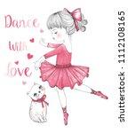 cute cat and ballerina   Shutterstock .eps vector #1112108165