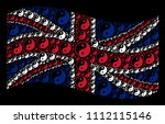 waving uk state flag on a black ... | Shutterstock .eps vector #1112115146