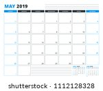 calendar template for may 2019. ... | Shutterstock .eps vector #1112128328