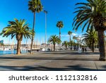 embankment with palm trees and... | Shutterstock . vector #1112132816