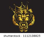 tiger angry face gold tattoo.... | Shutterstock .eps vector #1112138825