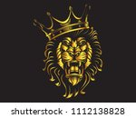lion angry face gold tattoo.... | Shutterstock .eps vector #1112138828