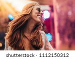 beautiful young hippie woman... | Shutterstock . vector #1112150312