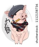 vector pig with pencil  hat and ... | Shutterstock .eps vector #1112158736