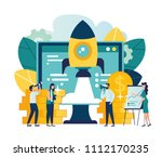 the launch of a new business in ... | Shutterstock .eps vector #1112170235