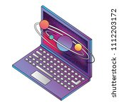 laptop computer with planets... | Shutterstock .eps vector #1112203172