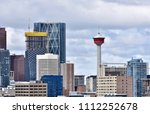Gorgeous shot of Calgary Tower and surrounding buildings from a park lookout (Alberta, Canada)
