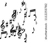 black musical notes on white... | Shutterstock .eps vector #1112253782