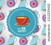 tea time   teacup on dish label ... | Shutterstock .eps vector #1112255432