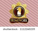 shiny emblem w gold emblem or... | Shutterstock .eps vector #1112260235