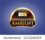 gold emblem or badge with... | Shutterstock .eps vector #1112260325