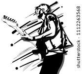 guitar man play music graphic... | Shutterstock .eps vector #1112263568