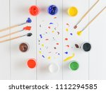 jars of gouache and brushes on... | Shutterstock . vector #1112294585
