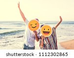 happy mature mother and son at... | Shutterstock . vector #1112302865