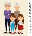 grandparents couple with kids... | Shutterstock .eps vector #1112306285
