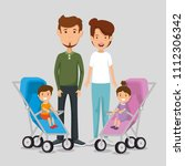 parents with kids avatars... | Shutterstock .eps vector #1112306342