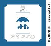 family under umbrella   family... | Shutterstock .eps vector #1112318585