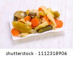 pickled vegetables mix in the...   Shutterstock . vector #1112318906