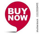 red vector bubble banner buy now | Shutterstock .eps vector #1112333495