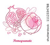 vector outline pomegranate half ... | Shutterstock .eps vector #1112334788